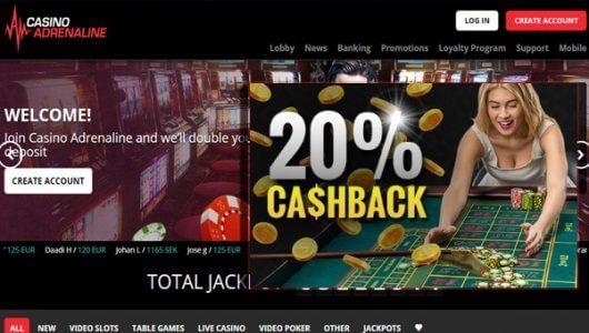 casino adrenaline free spins