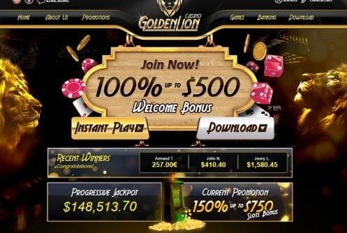 Golden Lion Casino Review Free Chip Huge Pokie Bonus